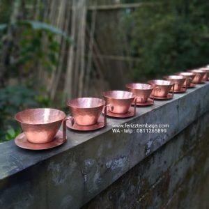 teko set dan mangkuk tembaga